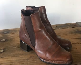 Vintage 90s Brown Leather Chelsea Boots, High Heel Boots, Women's Boots, Ankle Boots, Size 38, Size 7.5