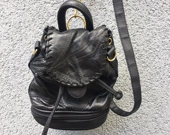 Vintage 90s Black Leather Mini Backpack with Gold Hardware, Patchwork Leather Backpack, 90s Mini Purse, 90s Bag, 90s Accessories
