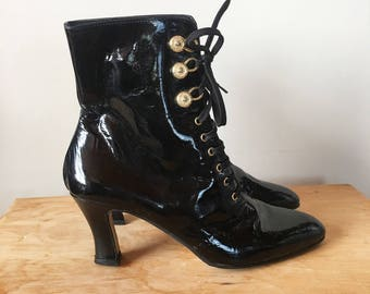 Vintage 80s Black Patent Leather High Heel Boots, Black and Gold Boots, Lace Up Boots, Ankle Boots, Made in Italy, Size 8.5