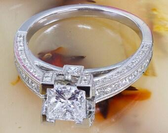 14k white gold princess cut moissanite and diamond engagement ring prong set, bridal, anniversary, wedding, deco 1.80ctw