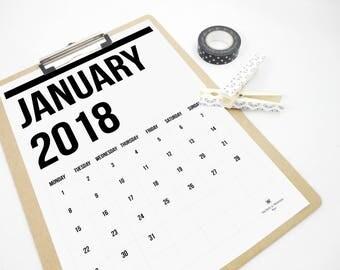 Two Lines Monthly 2018 Printable Calendar, Minimal Planner, 2018 Calendar, Boss Gift, Office Art, Scandinavian Design, Wall Calendar, PDF