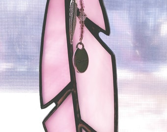 Stained glass pink feather sun catcher