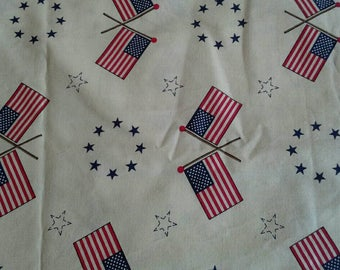 American Flag, Patriotic Cotton Fabric, Red White and Blue on Natural Background, 2 7/8 Yards X0951