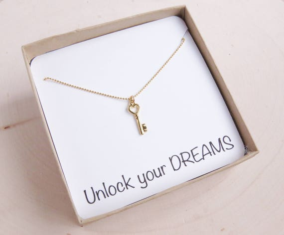 Personalized Gold Key Necklace