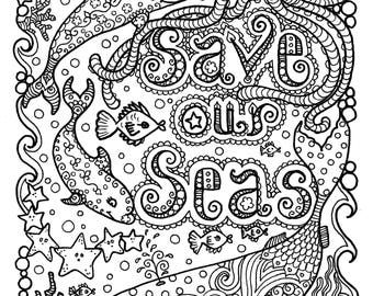 Save our Seas Digital Coloring page/dolphin/octopuss/whale/beach/mermaid/adult coloring
