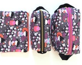 Kokeshi Dolls Zipper Bags - Flat 8x5 or Small Boxy Bag