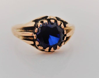 Antique English 9K Gold Sapphire Belcher Ring. Victorian Edwardian Dome Ring. Antique Sapphire Coronet Ring. Unisex Stacking Birthstone Ring