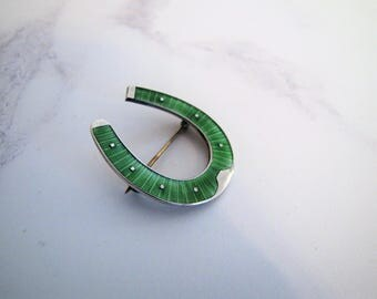 Victorian Sterling Silver Horseshoe Brooch. Green Guilloche Enamel. Dapper Dandy Dressage Stock Cravat Tie Pin. Good Luck Equestrian Brooch
