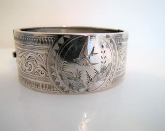Antique Victorian Silver Engraved Swallow Bracelet. English Sterling Silver Sweetheart Cuff. Aesthetic Japonesque Wide Hinged Cuff Bangle