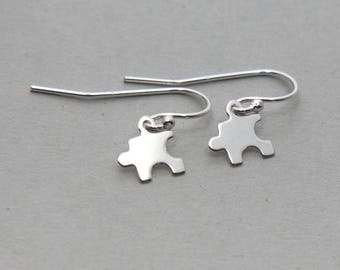 SALE, Puzzle Earrings, Sterling Silver Puzzle Earrings, Sterling Silver Jigsaw Earrings, Puzzle piece earrings, Tiny Silver Puzzle Earrings