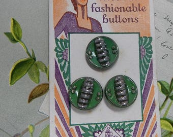 3 Vintage LE CHIC Czech GREEN Glass Buttons w/ Silver Luster Accents on Original Card    OBX13