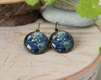 Planet Earth Earrings, Antique Bronze, Glass Dome Earrings, Space Jewelry, Galaxy Earrings