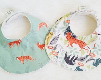 Baby Bib Set, in the jungle + tigers,  baby shower gift, gender neutral baby gift, jungle nursery