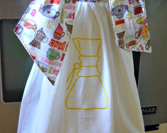 Tie On Dish/Kitchen flour sack towel-Hanging kitchen towel-Chemex embroidery
