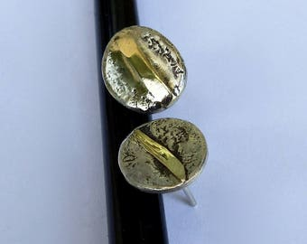 Earrings sterling silver 950/000 chips and gold 18 k.