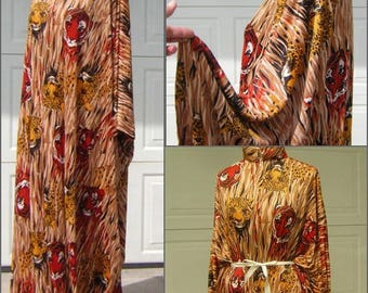 Vintage Caftan Exotic Jungle Cat Maxi Dress - One Size fits small to XXXL Plus