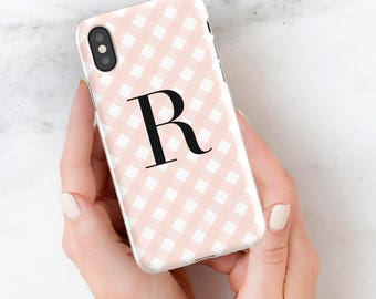 Personalized iPhone X Case 6 7 plus 8 plus Samsung Galaxy Monogram Gingham Custom Tech Accessory Fashion Gift for Her Bridesmaid Blush Pink