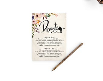 Wedding direction card, directions card, Enclosure card, Enclosure cards, Watercolor Wedding Directions Card - wc0001