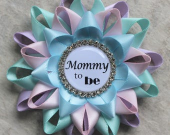 Neutral Baby Shower Pins, Gender Reveal Party Pins, Lavender, Aqua, Pale  Pink