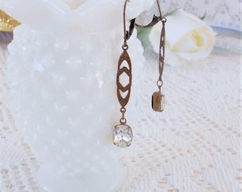 Crystal Earrings, Art Deco Earrings, Gatsby Wedding, Retro Glam, Vintage Rhinestone Earrings, Estate Jewelry, Glass Dangle Earrings, Clear