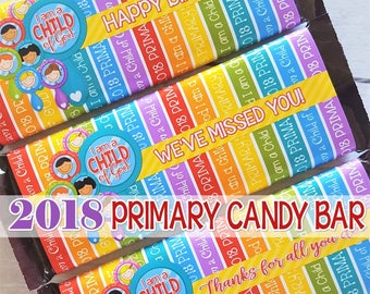 2018 PRIMARY Themed Candy Bar Wrapper, I am a Child of God, LDS Primary Printables, Birthday Gift Ideas - Printable Instant Download