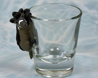 Hand Sculpted Visayan warty pig 1.5 oz Shotglass