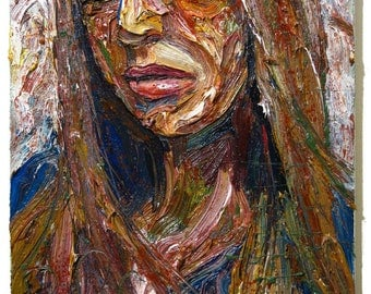 Oil Paint on Stretched Canvas of 20 by 16 by 3/4 in. / Original oil painting signed abstract modern vintage impressionism art portrait