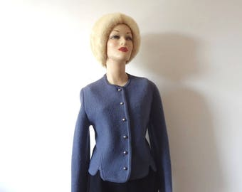 Vintage Boiled Wool Cardigan Sweater