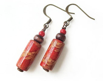 Wooden Bead Dangle Earrings, Bead Earrings, Red and Brown Jewelry, Boho Chic Style Jewelry,