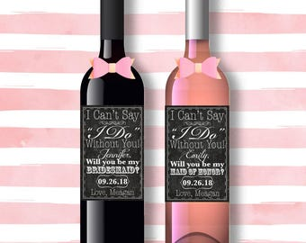 Wine Labels, Will you be my Bridesmaid proposal
