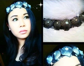 Mermaid Queen Glitter Gem Seashell Lace Music Festival Headpiece