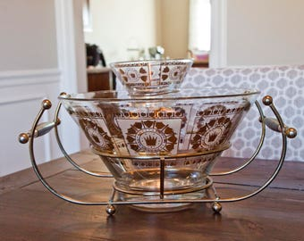 Mid-Century Chip and Dip Set with Wire Caddy