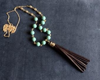 Beaded Leather Tassle Necklace