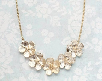 Cherry Blossom Necklace, Matte Gold Flower, Floral Bid Necklace, Nature Jewellery, Gold Wedding, Womens Fashion Accessories, Gift for Her