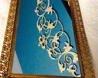 """Vintage Gold Mirror Tray Filigree Dresser Vanity Tray 16"""" Large Gold Plated"""