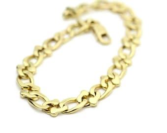 "Vintage Link Bracelet 14k Yellow Gold Italian Gold Bracelet 7.5""  Link Bracelet"