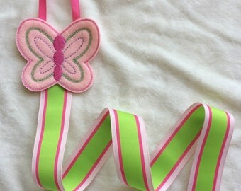 Pink Green Butterfly Embroidered Bow and Clip Holder Keeper with Stripe Ribbon