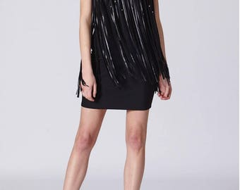 Faux Leather Tassel Strapless Black Dress With Silver Beads Accents