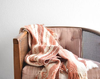 vintage striped multicolored nude peach afghan blanket throw / fringed