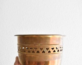 vintage hollywood regency heart cut out brass planter / flower pot filigree