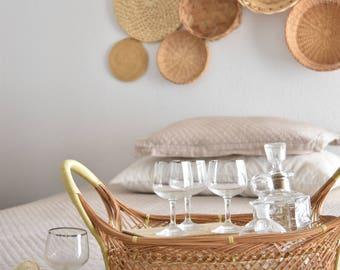 vintage set of martini glasses with silver rim | goblets | set of 6 / madmen