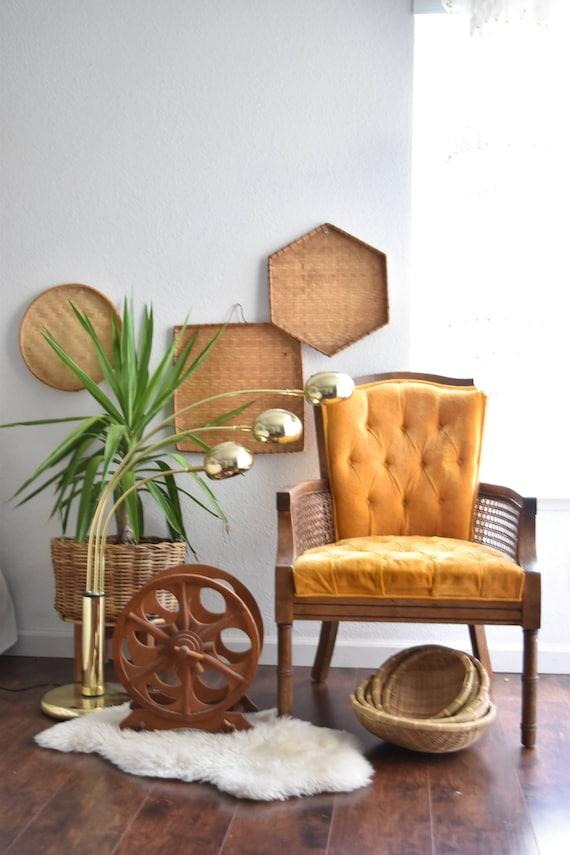 vintage set of 3 large straw rattan wall baskets / octagon square circle / boho