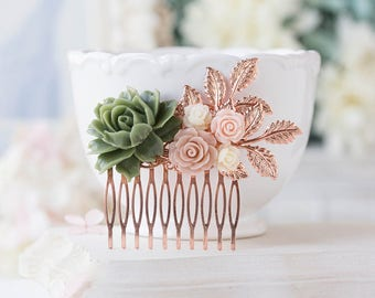 Sage Green Moss Green Blush Pink Dusty Pink Rose Flowers Rose Gold Leaf Branch Hair Comb Rose Gold Wedding Sage Green Wedding Hair Piece