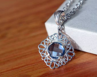 Blue Spinel Pendant, Sterling Silver Filigree Wedding Necklace, Women's Bridal Bridesmaid Jewelry, Dainty 8mm Gemstone