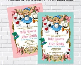 Alice in wonderland invitation,  Bridal Shower OR Baby Shower , birthday invitation , alice, girl,  newbaby Invitation - card  1025