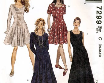 McCall's 7299 Sewing Pattern for Misses' Dress - Uncut - Size 10, 12, 14