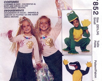 McCall's 7852 Sewing Pattern for Adults' Alligator, Frog and Mermaid Costumes - Uncut - Size Small 32.5-34