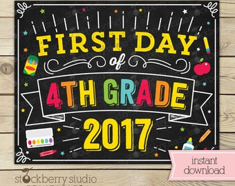 First Day of 4th Grade Sign - First Day of School Sign Printable - Back to School - 1st Day of 4th Grade - First Day of Fourth Grade Sign
