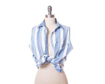 Vtg Stripe Denim Sleeveless Top  size L