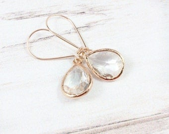 Rose Gold Earrings, Minimal Earrings, Drop Earrings, Crystal Earrings, Dainty Earrings, Wedding Jewelry,Bridesmaid Gifts,Bridesmaid earrings